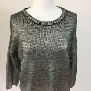 BB Dakota M Chey Metallic Foiled Sweater Silver